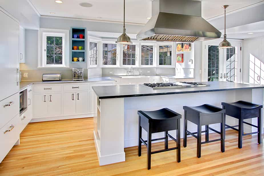 White Kitchen with Natural Bamboo Flooring