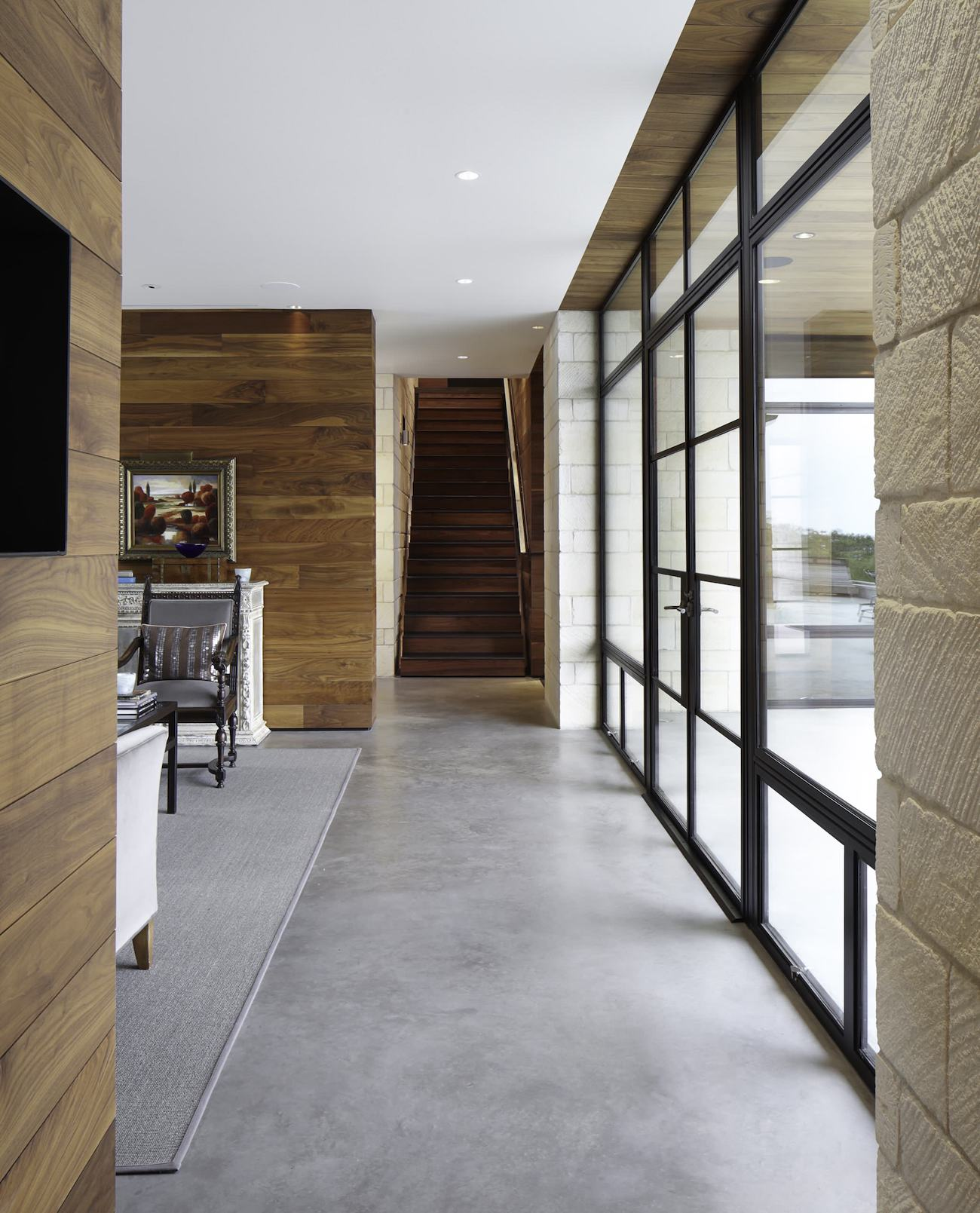 Polished Scored Concrete Entryway