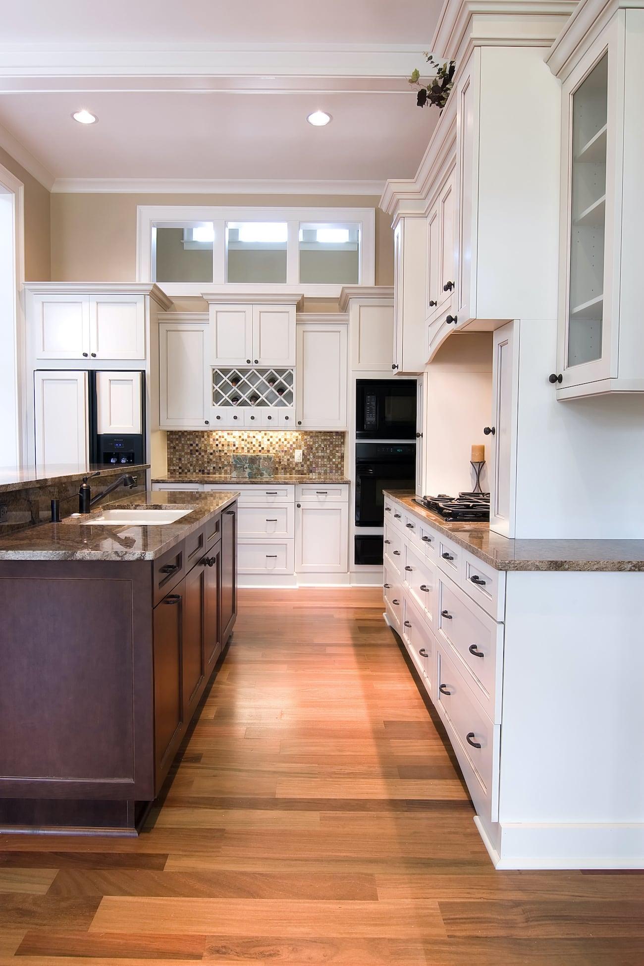 Upscale Kitchen with Wood Flooring