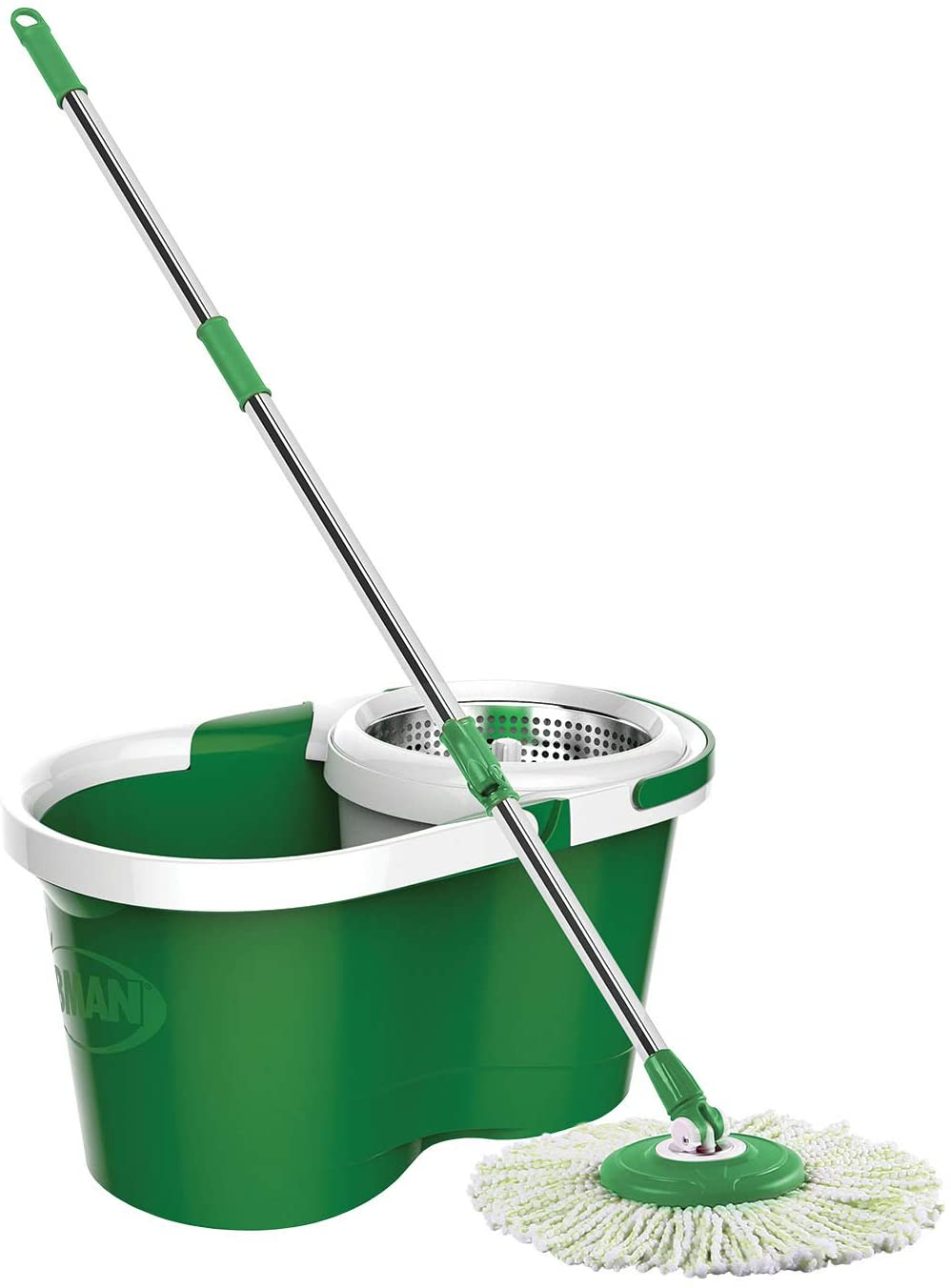 Libman Microfiber Mophead and Stainless Steel Compartment Spin Mop and Bucket