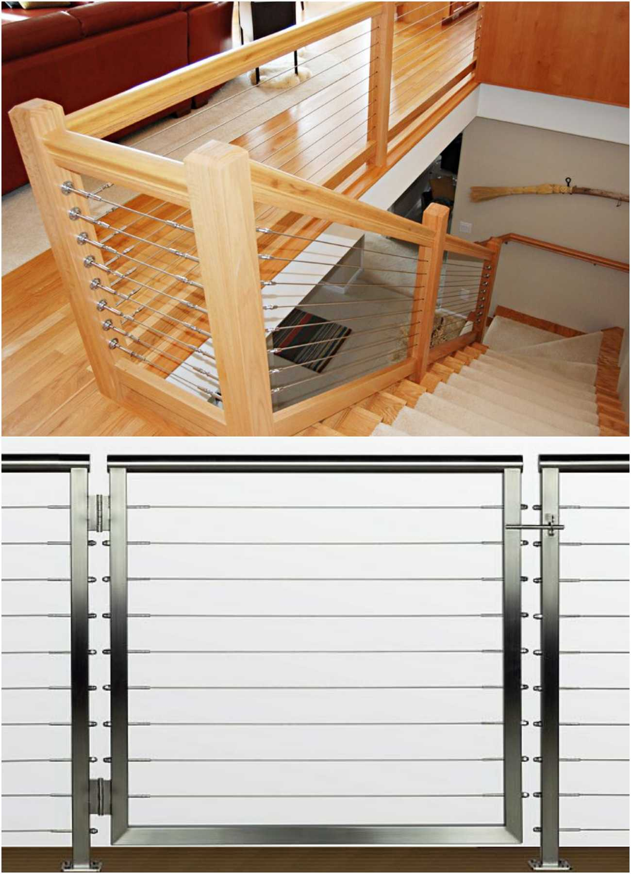 Metal vs Wood Stainless Steel Cable Railing